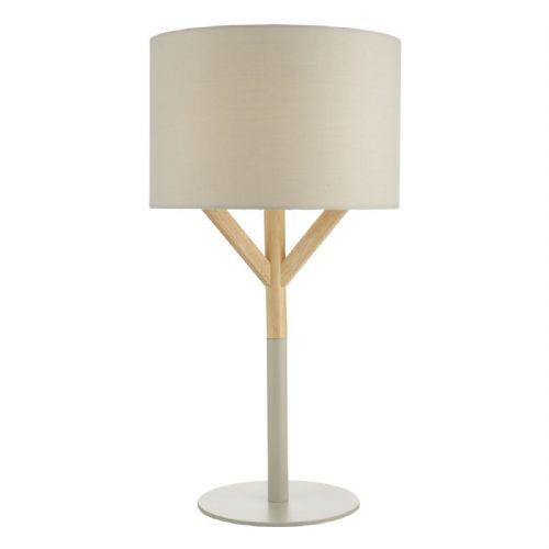Eatu Table Lamp Wood & Grey C/W Shade EAT4239
